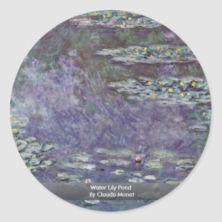 Water Lily Pond By Claude Monet Round Stickers