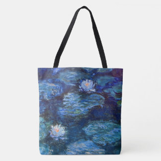 Water Lily Pond in Blue by Claude Monet Fine Art Tote Bag