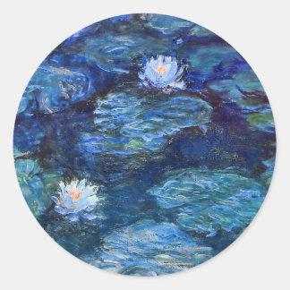 Water Lily Pond in Blue Monet Fine Art Round Sticker