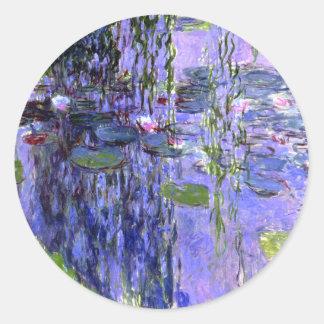 Water Lily Pond Purple  Reflections Monet Fine Art Round Sticker