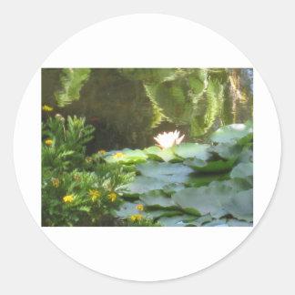 Water Lily Pond Round Sticker