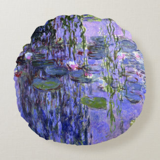 Water Lily Pond Violet Reflections Impressionism Round Pillow
