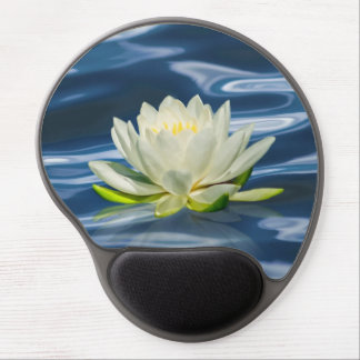 Water Lily Reflected on Blue Gel Mouse Pad