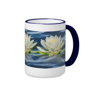 Water Lily Reflected on Blue Water Mug