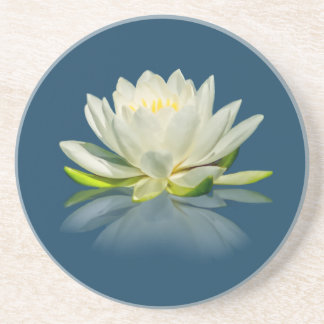 Water Lily Reflected on Blue Water Sandstone Coast Coaster