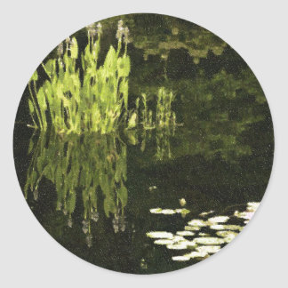 Water Lily Scene Drawing Round Sticker