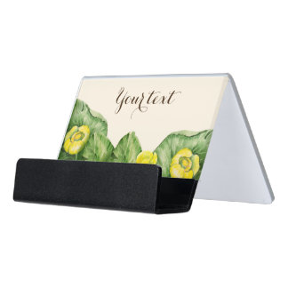 water-lily watercolor desk business card holder