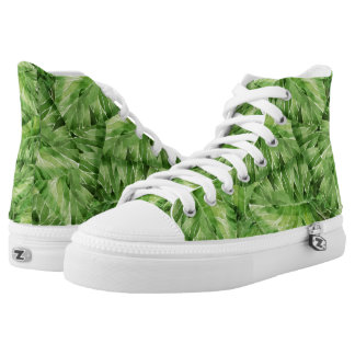 water-lily watercolor high tops