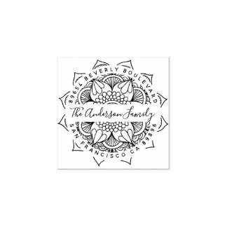 Water Mandala Typography Return Address Rubber Stamp
