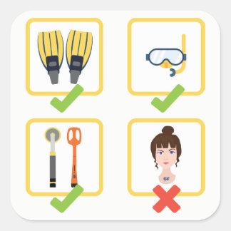 Water Metal Detecting Checklist_No Girlfriend Square Sticker
