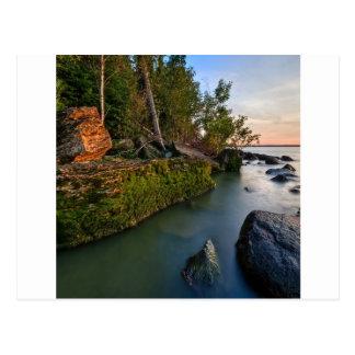 Water Night Lights Rugged Bay Postcard