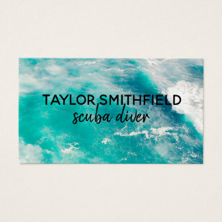water ocean aerial waves modern business card