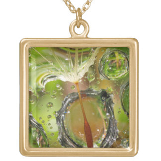 Water on dandelion seed, CA Gold Plated Necklace