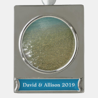 Water on the Beach I Abstract Nature Photography Silver Plated Banner Ornament