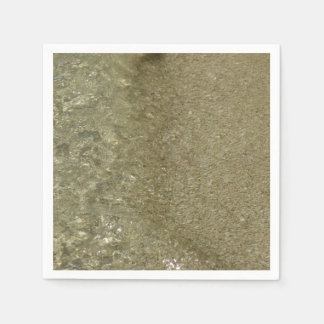 Water on the Beach II Abstract Nature Photography Paper Napkin