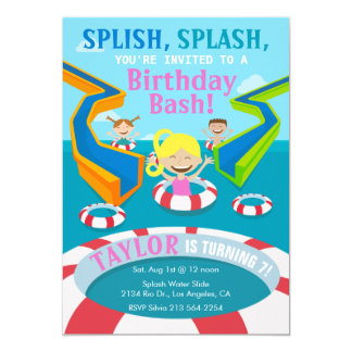 Water Park Girl Swimming Birthday Party Invitation