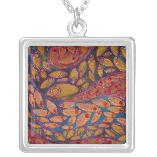 Water Peacocks (painting) necklace
