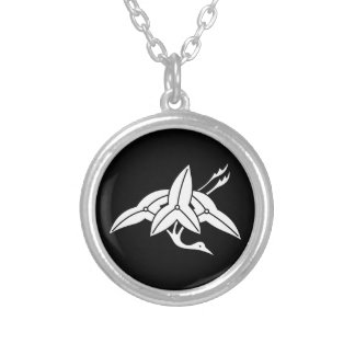 Water plantain crane silver plated necklace