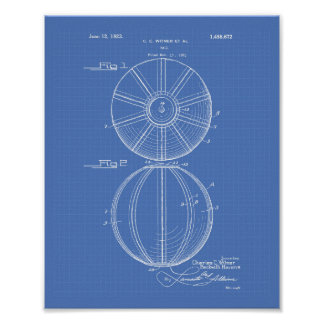 Water Polo Ball 1923 Patent Art Blueprint Poster