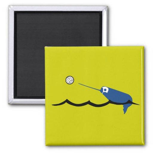 Water Polo Narwhal Zany Du Designs Children Sport Fridge Magnet