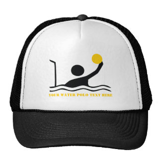 Water polo player black silhouette custom cap