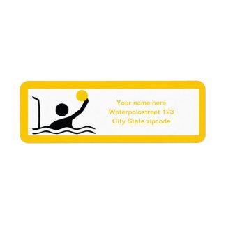 Water polo player black silhouette custom return address label