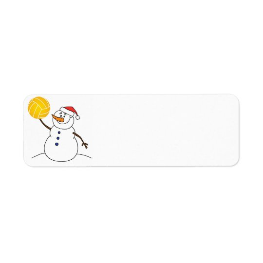 Water Polo Snowman Return Address Label