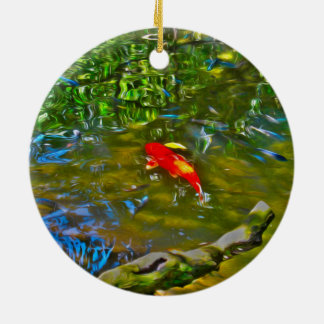 Water Reflection and the Koi Fish Christmas Round Ceramic Decoration