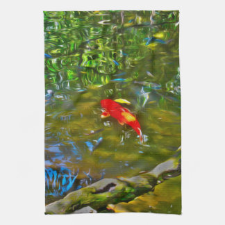 Water Reflections and the Koi Fish Dish Towel