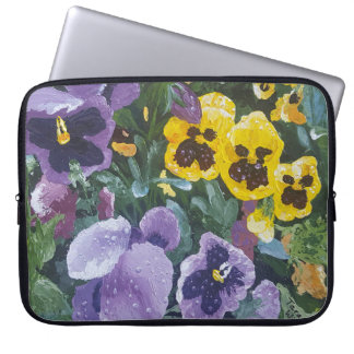 Water Resistant Floral Pansy Laptop Sleeve