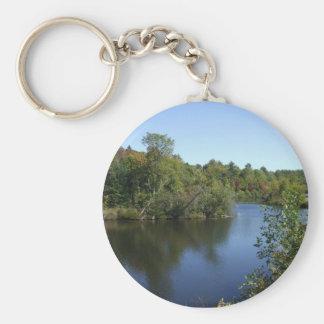 Water Scene Basic Round Button Key Ring