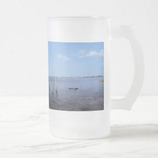 Water Scene - Wooden Post Markers Frosted Beer Mug