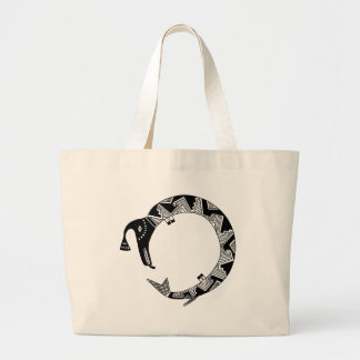 Water Serpent, Mimbres Pottery Design Large Tote Bag