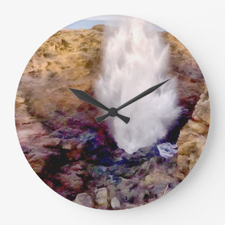 Water shower due to waves large clock
