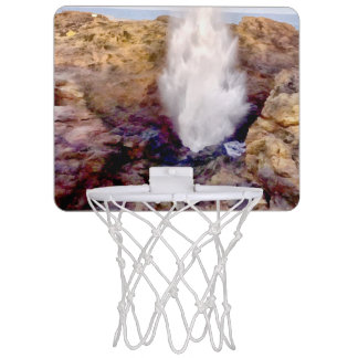 Water shower due to waves mini basketball hoop