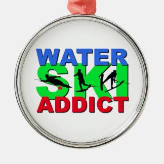 Water Ski Addict Metal Ornament