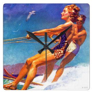 Water Skier by McClelland Barclay Square Wall Clock