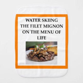 water skiing burp cloth