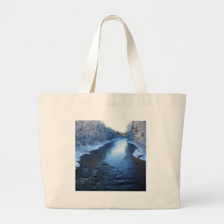 Water Snow Covered Winter Tote Bags
