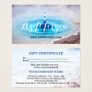 Water Source Spa Massage Gift Certificate Template
