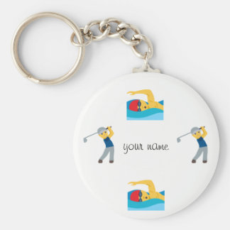 "Water Sport Emoji and '' Your Name Here "" Key Ring"