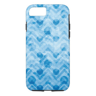 Water Stained Aqua Blue Polka Dots and Chevrons iPhone 8/7 Case
