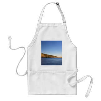 Water Themed, Deep Blue Water, Mountains, And A Cl Standard Apron