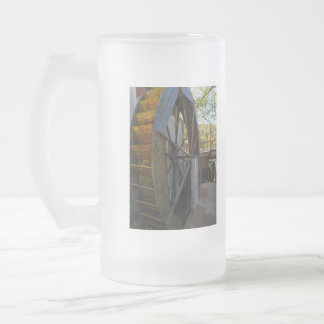 Water Wheel Dawt Mill Frosted Glass Beer Mug