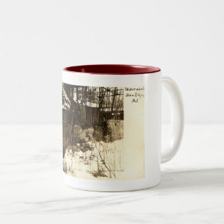 Water Wheel, Glen Ridge, NJ 1905 Vintage Two-Tone Coffee Mug