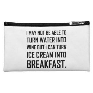 Water Wine Ice Cream Breakfast Joke Makeup Bag