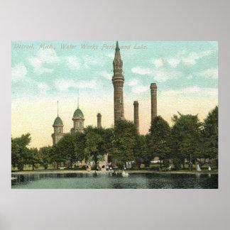 Water Works Park, Detroit 1910 Vintage Poster