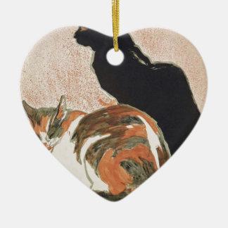 Watercolor - 2 Cats - Théophile Alexandre Steinlen Ceramic Heart Decoration