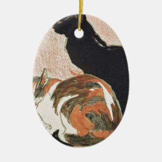Watercolor - 2 Cats - Théophile Alexandre Steinlen Ceramic Ornament