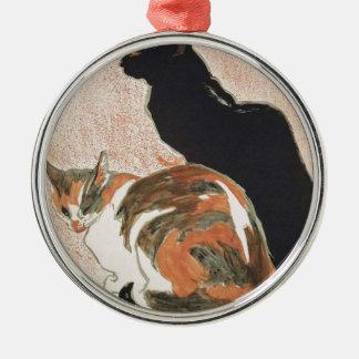 Watercolor - 2 Cats - Théophile Alexandre Steinlen Metal Ornament